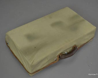 Antique Brown Leather Suitcase & Cover