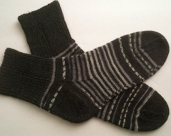 Hand Knitted Men Wool Socks Hand Knit Wool Socks Men Knit Socks Wool Nylon Socks Feet 9 - 11 US Men shoe size Ready TO SHIP