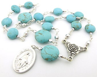 Little Crown of The Blessed Virgin Mary Chaplet - Miraculous Medal Turquoise Gemstone Unbreakable Catholic Prayer Beads - Catholic Gift