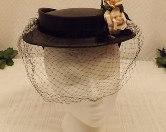 50s Black Birdcage Veil Grosgrain Ribbon Hat with Roses