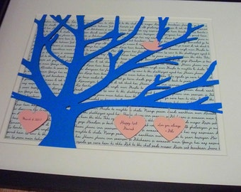 Special Dates, First Anniversary Gift For Him, Personalized 11X14 Unframed 3D Paper Tree Wedding Gift, Anniversary, Wedding Song Lyrics