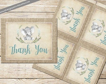 Elephant baby boy shower thank you note card, _163