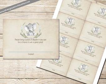 Boy Elephant Diaper Raffle Ticket - Printable : Instant Download _163