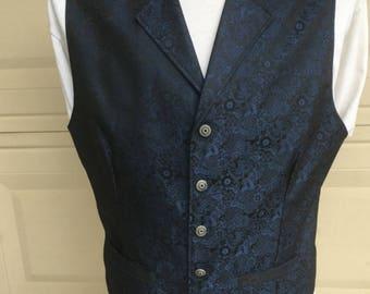 Vintage 80s Navy Blue & Black Brocade Formal Suit Vest Waistcoat Size L