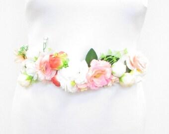 Blush Pink Ivory Rose Belt Bridesmaid Bridal Sash Floral Flower White Daisy 1031