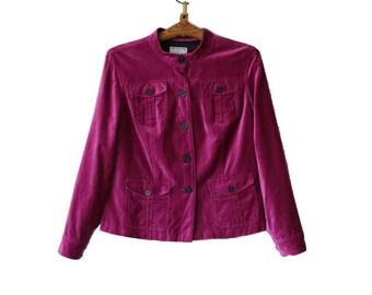 Vintage Raspberry Pink Velvet Blazer Cotton Jacket L/G Size