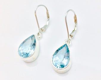 Blue Topaz Earrings // 925 Sterling Silver // Simple Teardrop Setting // Lever Wires // December Birthstone