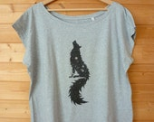 "Collection ""Top of the Lake"" - T-shirt ""crop"" femme en coton 100% organique, impression digitale ""Space Wolf"""