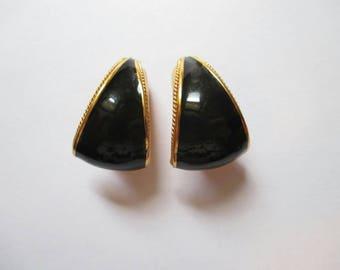 St. John Earrings Black Enamel Designer hoop clip on gold tone Chunky Runaway vintage Free Shipping!