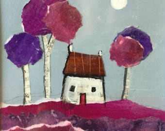 Paper house #10 mounted collage painting by Jane Palmer folk art