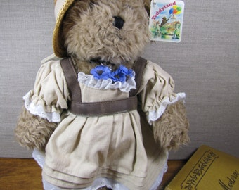 Teddyland - German Teddy Bear With Tan Dress and Straw Hat