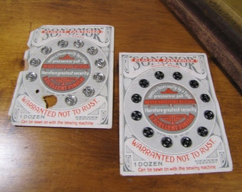Vintage Sonomor Placket Fasteners - One Full Card (black) and One Partial Card (silver) - Made in Germany