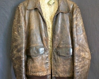 Californian 1930's Horsehide bomber jacket Medium classic brown distressed leather rustic vintage antique