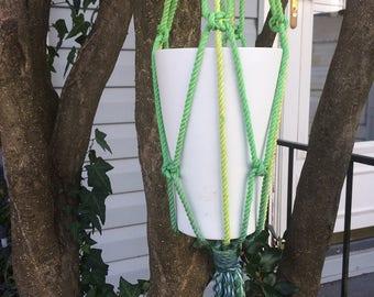 Dark Navy – Lime Green Ombre Macramé Plant Hanger, Natural White Cotton Rope Macrame Plant Hanger, Outdoor Decor, Ombre Macrame, 45 inches