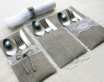 SET OF 50 Burlap Silverware Holders