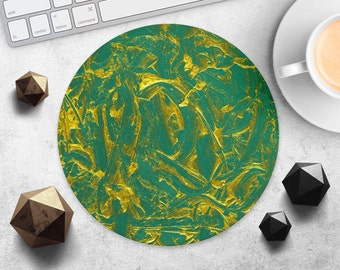 Gold Art Mouse Pad Green Mousepad Style Mouse Pad Painting Mousepad Modern Desk Accessories Watercolor Mouse Mat Computer Office Mousepad