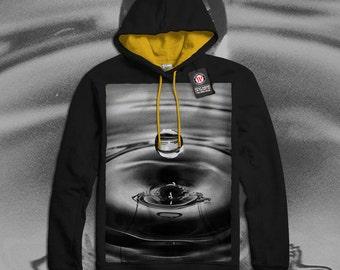 One Water Drop Rain Fall Men Black (Gold Hood) Contrast Hoodie S-2XL NEW   Wellcoda *q997