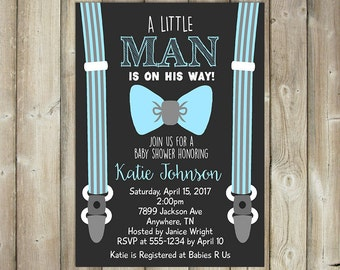 Little Man Baby Shower Invitation - Boys Baby Shower Invite - Suspenders & Tie - DIGITAL FILE