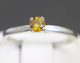 Very Rare Canary Yellow Diamond Engagement Ring (.19cts 3.61mm)  Size 7