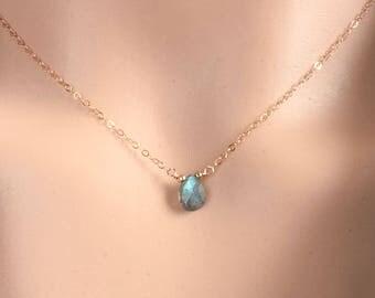 Labradorite Necklace for Women - Choker Gold Dainty - Labradorite Choker Necklace - Dainty Gemstone Necklace - Gold - Silver - Rose Gold