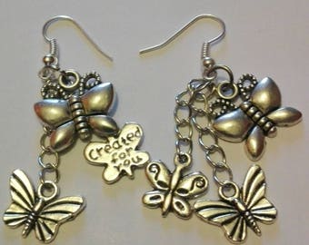 Cute pair of butterfly earrings, silver and chain