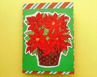 Poinsettia Christmas Greeting Card, Holiday Greetings