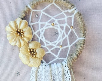 Dreamcatcher - Jute - Gold - Pearl - One Of A Kind - Dream - BOHO - Bohemian - Wedding - Shower - Thank you - Favors - Gift