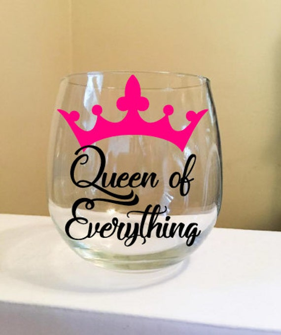 Queen of Everything Stemless Wine Glass