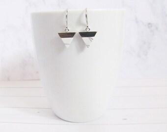 white marble earrings, triangle earrings, marble earrings, geometric earrings, minimalist earrings, minimal earrings, howlite jewelry