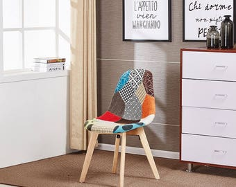 Patchwork Chair Modern Living Room Dining Room Chair Mid Century Design Eames Style scandinavian