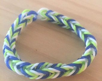 Blue Green White Rainbow Loom Colorful Fishtail Simple Bracelet (Proceeds donated to the Human Rights Campaign)