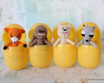 Woodland Animals, Miniature Animals, Tiny Bunny, Crochet Bear, Animals in Egg, Micro Crochet