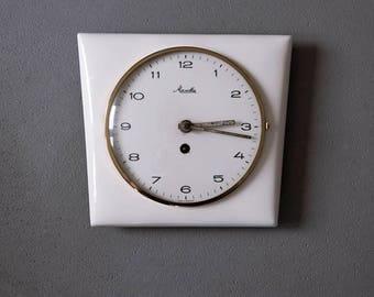 Vintage German 50's Ceramic Wall Clock, Mechanic Clock, Retro Kitchen, Retro Decor, Kitchen Clock, Kitchen Decor, Cream, Gold, Wall Hanging