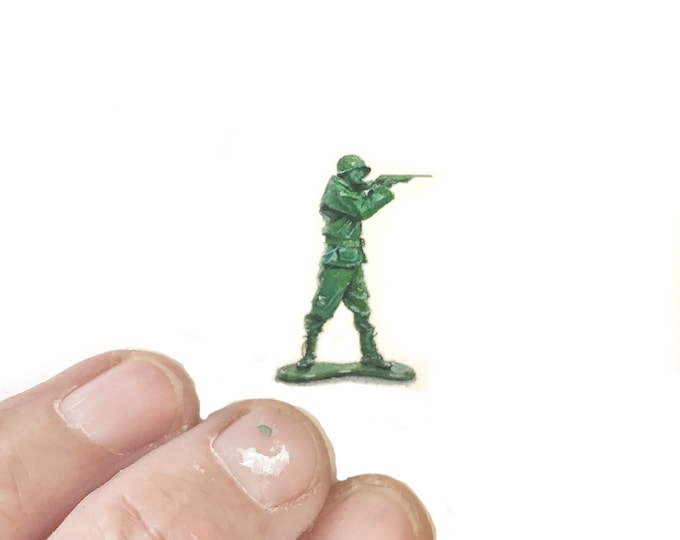 "Print of miniature painting of Toy Army Man 1 1/4 x 1 1/4"" print of original Toy Army Man painting on 5"" square german etching paper"