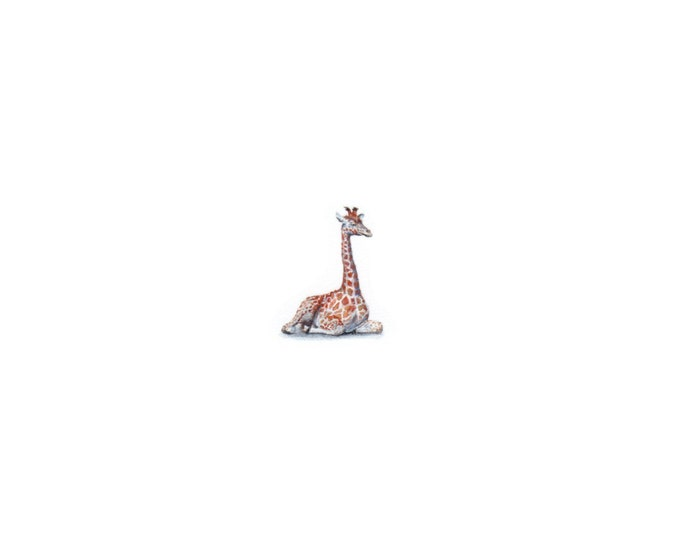 "Print of miniature painting of a Giraffe Sitting. 1 1/4 x 1 1/4"" print of a Giraffe painting on 5"" square german etching paper"