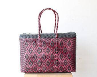Black & Fuchsia Woven Mexican bag, Picnic Basket, Beach Bag, Gifts for her, Mexican Gifts, Oaxaca Tote Bag, Woven Bag, Mexican Basket