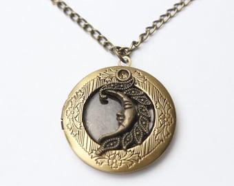 Moon Locket Necklace,moon  Charm Locket Pendant,moon Locket Pendant Jewelry