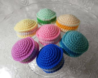 Crochet Macaroons - Knit Toy Food - Rainbow Cookies - Doll's Picnic Teaparty Play Cake