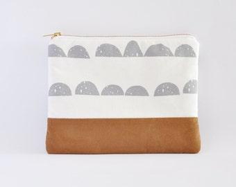 Clutch Bag, Clutch Purse, Zipper Clutch, Clutch Wallet - White, Grey And Tan Faux Suede