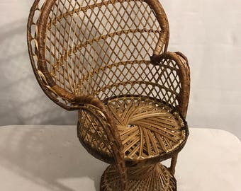 Old doll braided rattan chair Emmanuelle Vintage Style