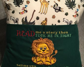Lion Children's reading Book Cushion, story book cushion, pocket cushion,zoo cushion,safari cushion,childrens cushion,book bag,reading book,