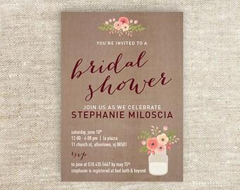 Rustic Printable Bridal Shower Invitation
