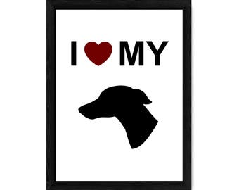I Love My Whippet Dog Silhouette PRINT
