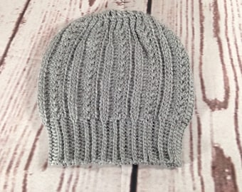 Grey ,Youth ,Crochet, Slouchy Hat