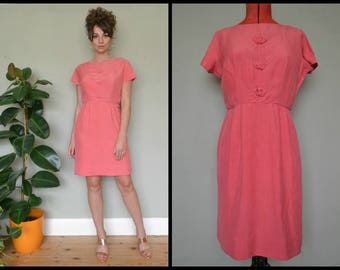Vintage 60's Coral Short Sleeved Fitted Wiggle Shift Dress Size M