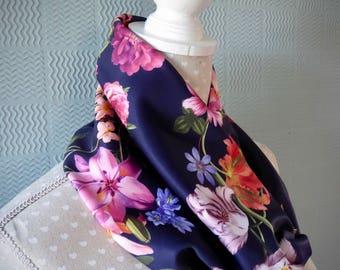 Navy flowered  snood, blue flowered cowl, navy flowered loop scarf