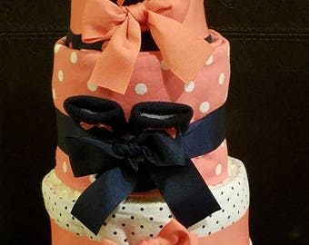 Navy Blue and Coral Girl Diaper Cake