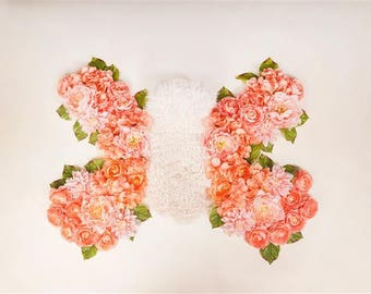 Digital Newborn Backdrop Spring Peach Butterfly. One of a kind prop!