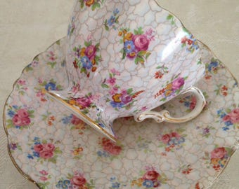 Hammersley chintz teacup and saucer