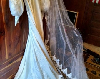 Vintage Beaded  Wedding Dress and Veil  by  Maurer